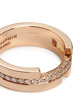Dauphin - Diamond 18k rose gold three tier ring