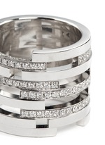 Diamond 18k white gold nine tier cutout ring