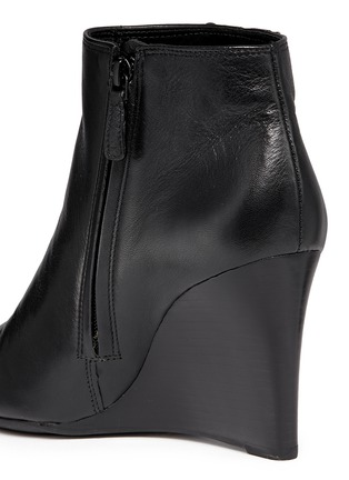 Detail View - Click To Enlarge - Tory Burch - 'Lowell' metal colourblock logo leather wedge ankle boots