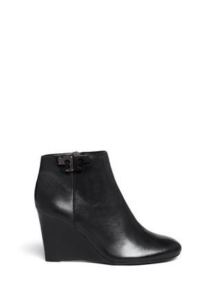 Main View - Click To Enlarge - Tory Burch - 'Lowell' metal colourblock logo leather wedge ankle boots