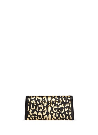 Back View - Click To Enlarge - Jimmy Choo - 'Margot' metallic leopard leather clutch