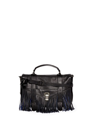 Main View - Click To Enlarge - Proenza Schouler - 'PS1 Pouch Fringe' medium leather satchel