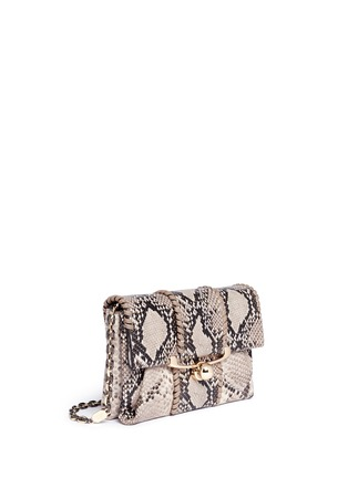 Detail View - Click To Enlarge - Stuart Weitzman - 'Belle' python embossed leather clutch