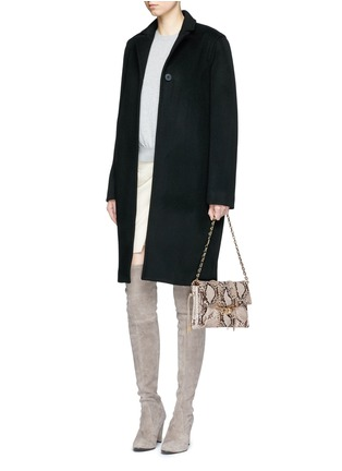 Figure View - Click To Enlarge - Stuart Weitzman - 'Belle' python embossed leather clutch