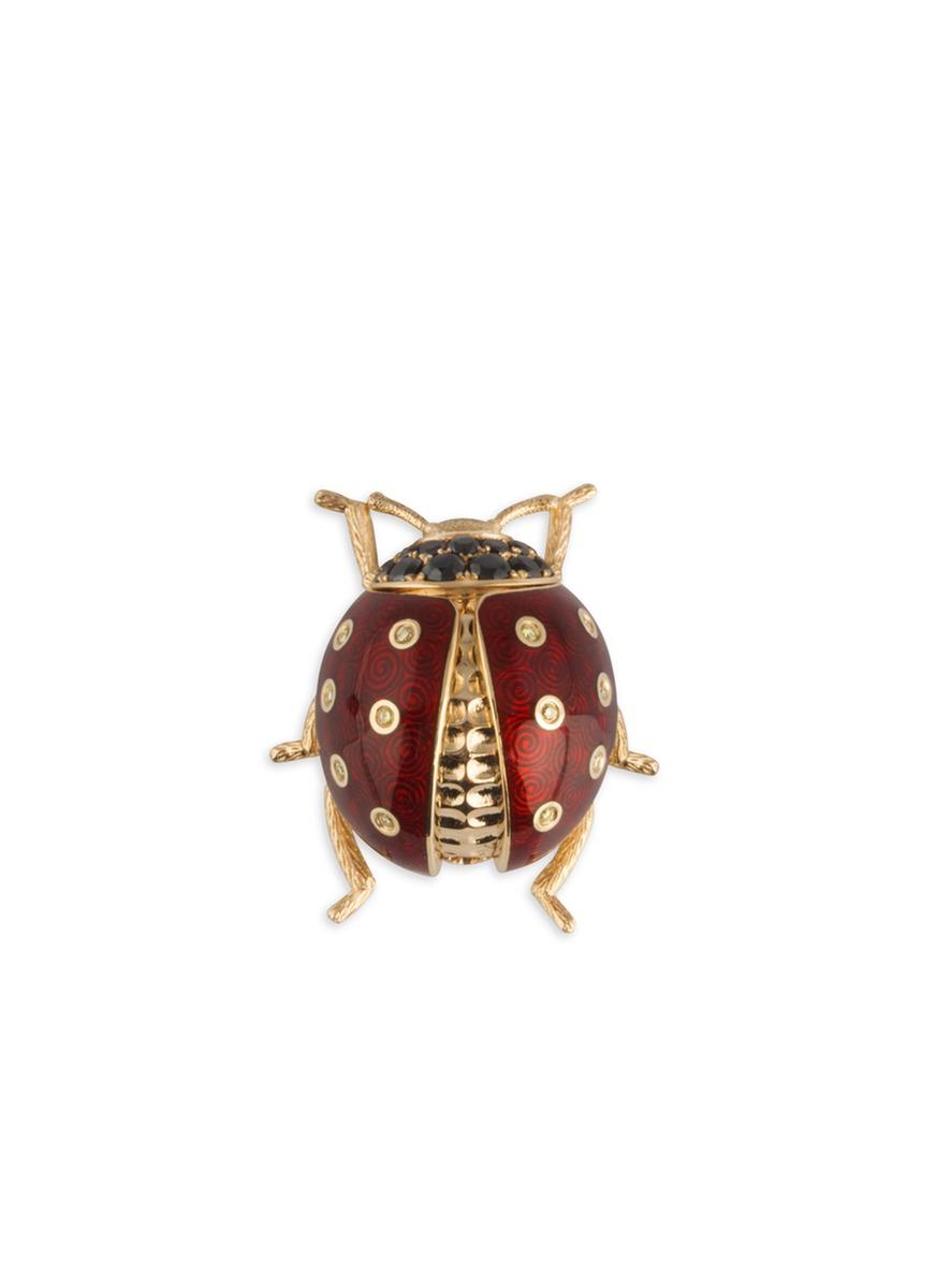 Ladybird diamond 18k gold charm by Heting