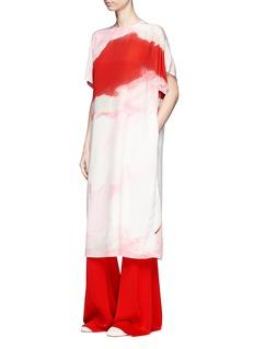 Ms MINOversized obi belt watercolour print silk dress