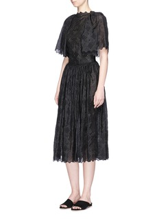 Ms MIN Broderie anglaise lotus sleeve silk dress