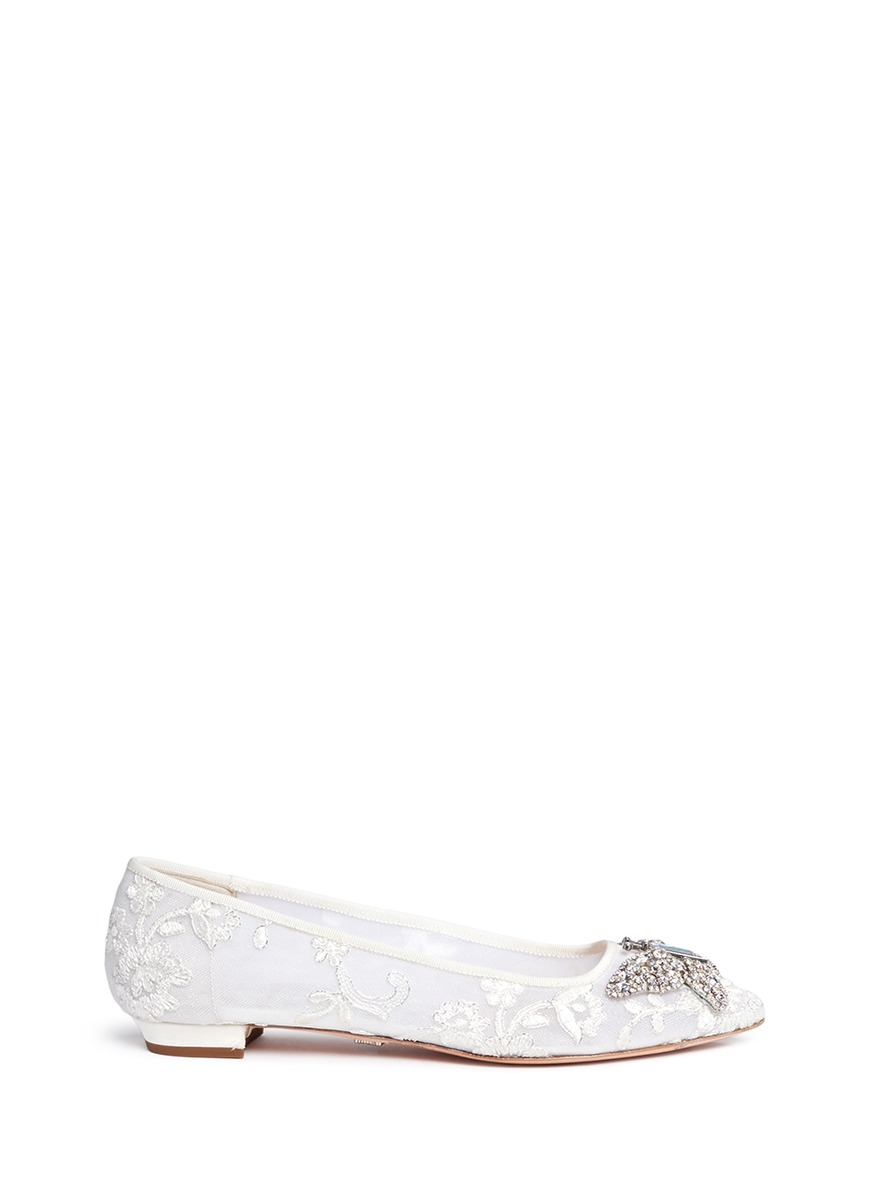 Crystal pavé butterfly lace embroidered flats by Aruna Seth