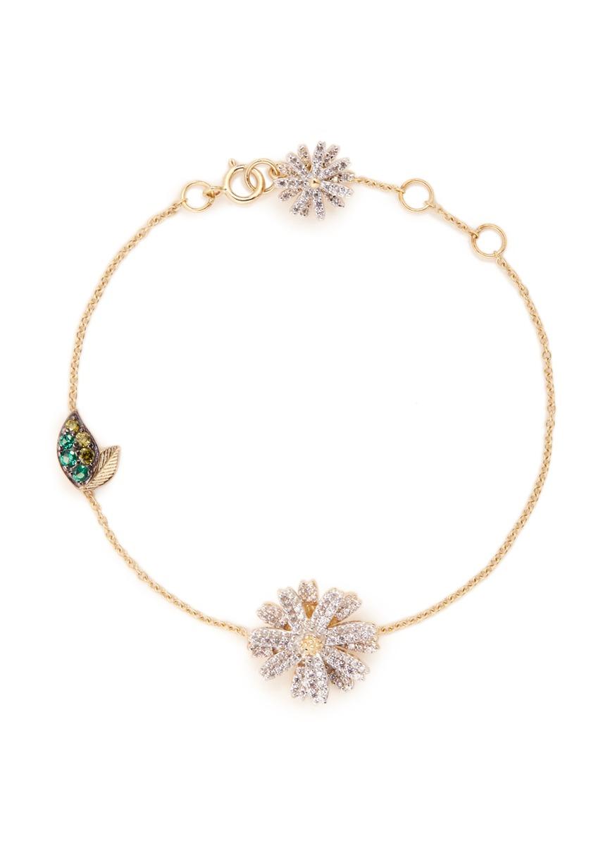 Daisy pavé diamond 14k gold bracelet by Anabela Chan