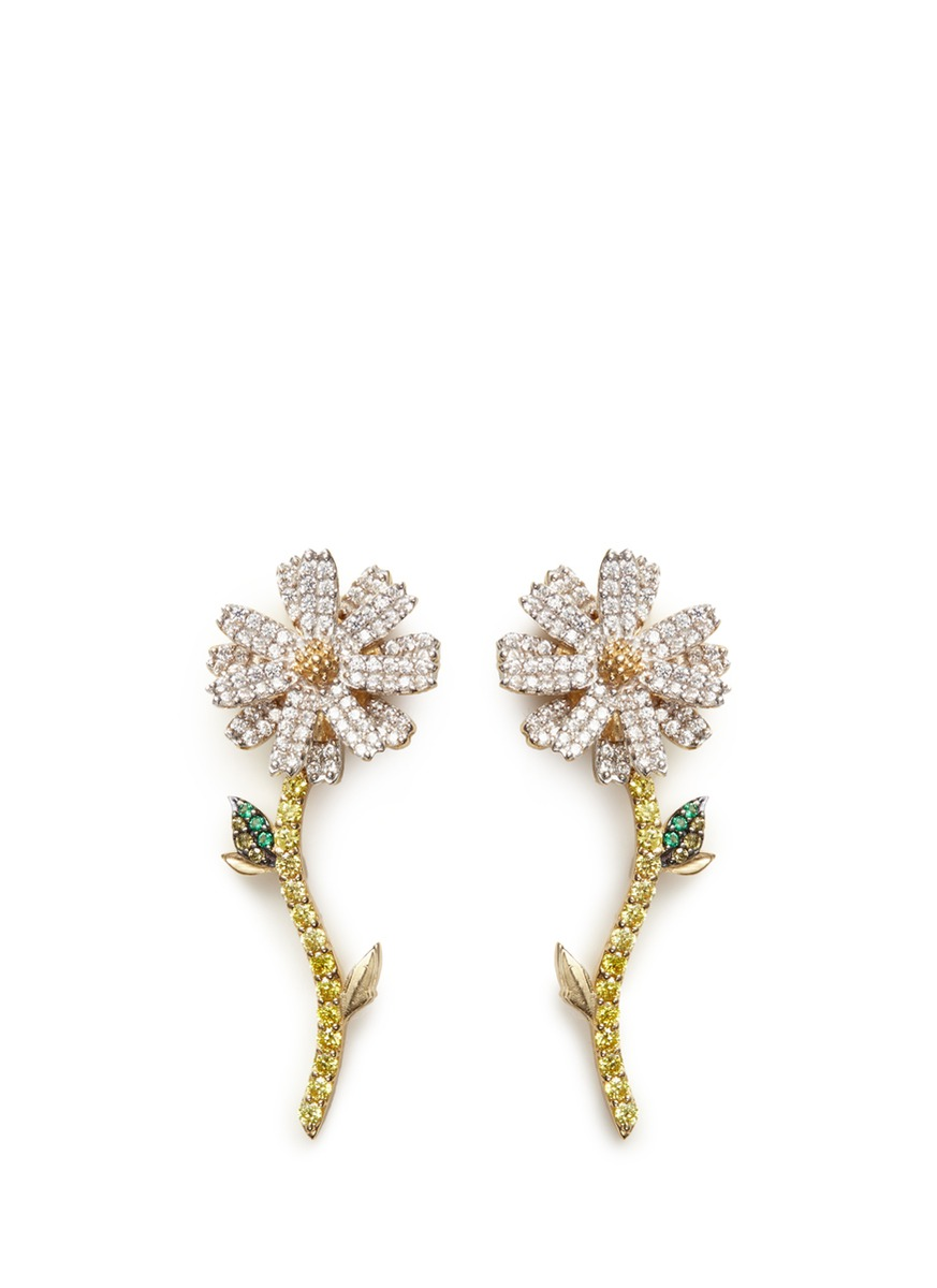 Daisy detachable diamond 18k gold earrings by Anabela Chan