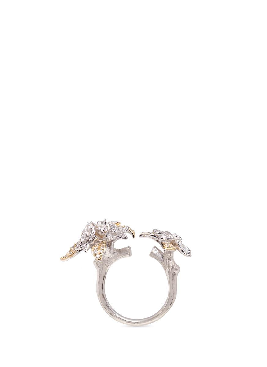 Bellflower diamond 18k gold ring by Anabela Chan