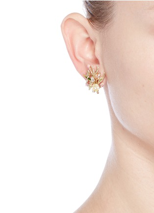 Front View - Click To Enlarge - Anabela Chan - 'Posie' detachable canary diamond 18k gold earrings