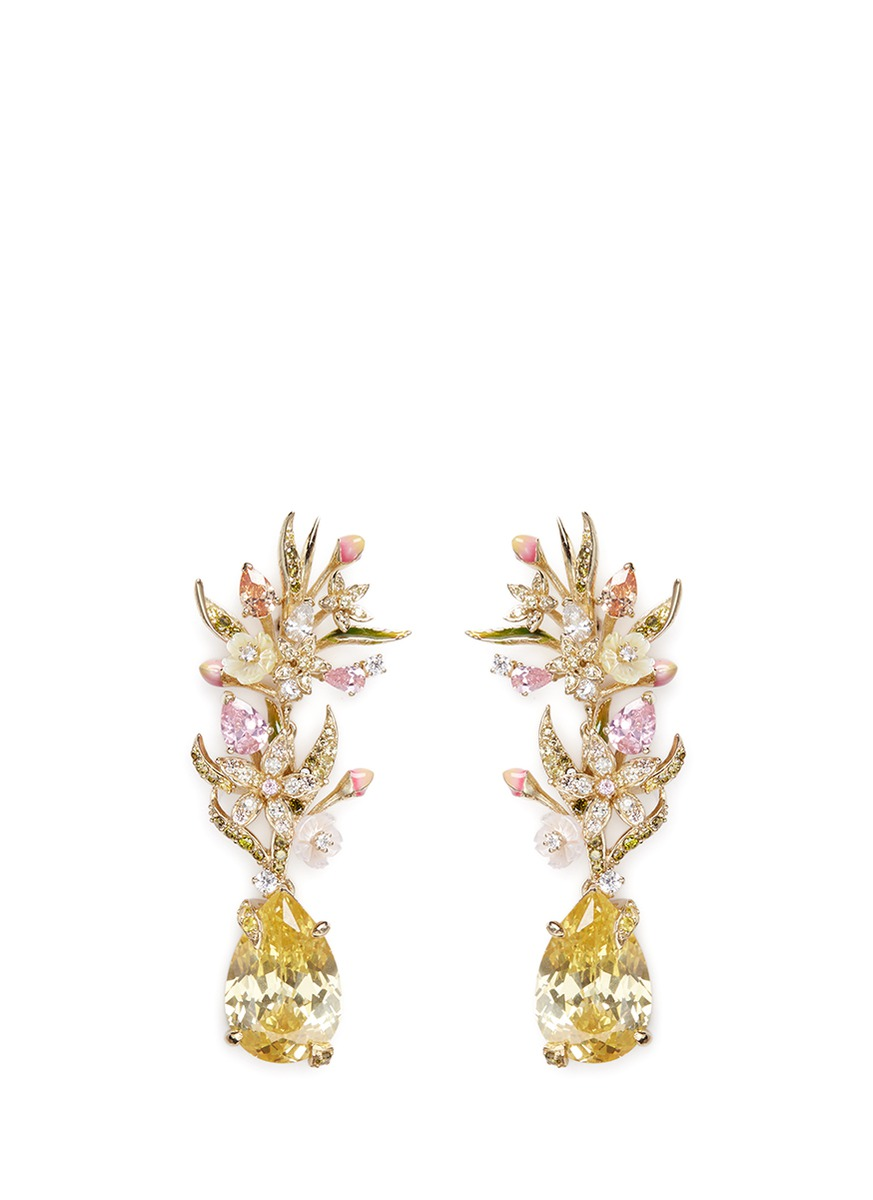 Posie detachable canary diamond 18k gold earrings by Anabela Chan