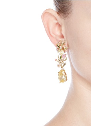 Figure View - Click To Enlarge - Anabela Chan - 'Posie' detachable canary diamond 18k gold earrings