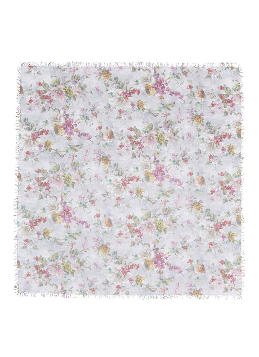Spring floral print cashmere-silk scarf by Faliero Sarti