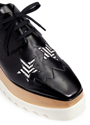 Detail View - Click To Enlarge - Stella McCartney - 'Elyse' woven star appliqué wood platform derbies