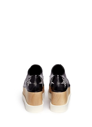 Back View - Click To Enlarge - Stella McCartney - 'Elyse' woven star appliqué wood platform derbies