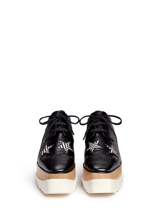 Front View - Click To Enlarge - Stella McCartney - 'Elyse' woven star appliqué wood platform derbies
