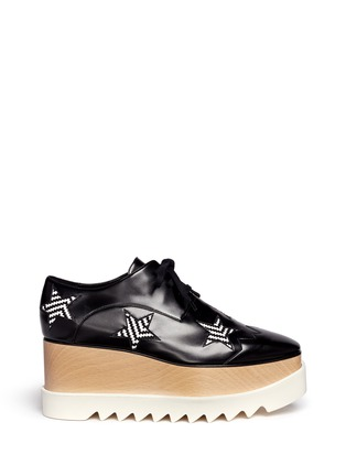 Main View - Click To Enlarge - Stella McCartney - 'Elyse' woven star appliqué wood platform derbies