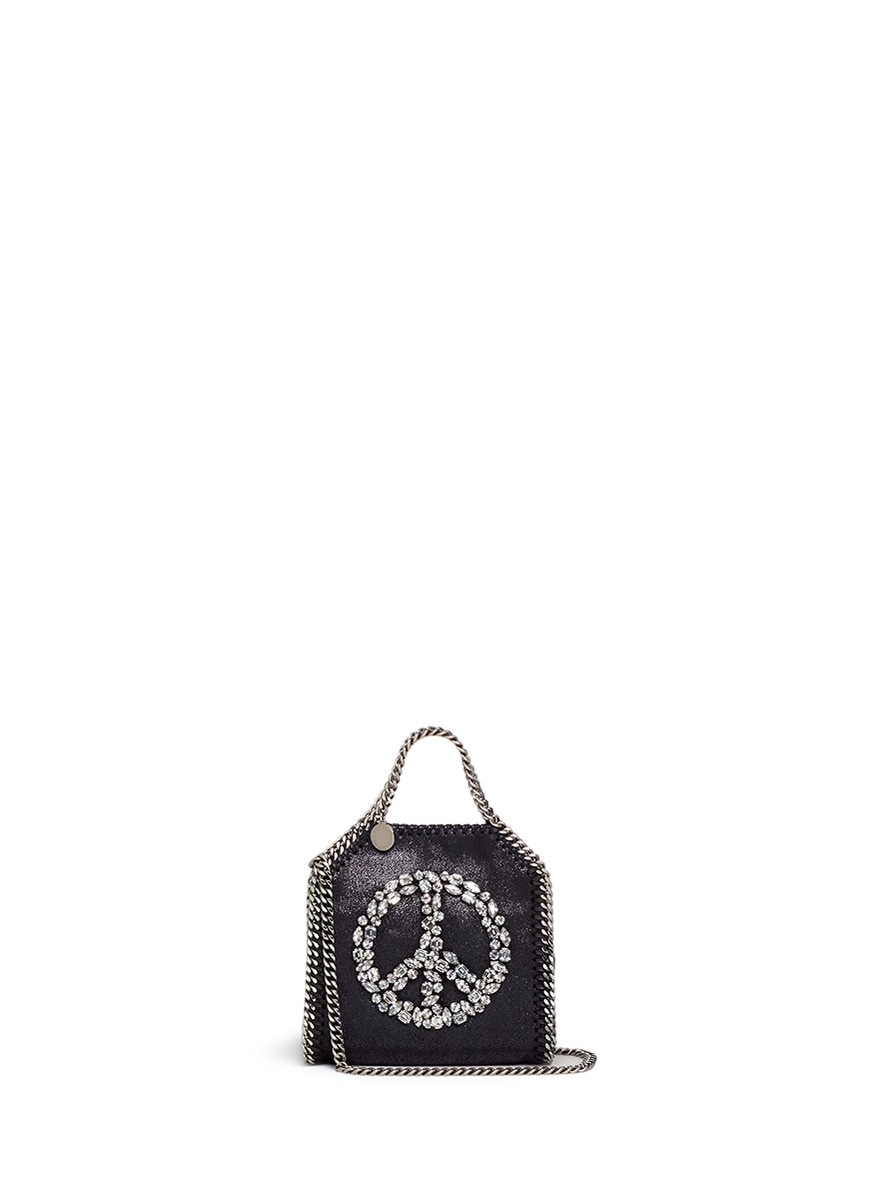 Falabella tiny crystal peace sign crossbody chain tote by Stella McCartney