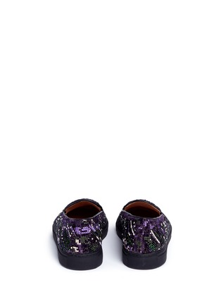 Back View - Click To Enlarge - Dries Van Noten - Beaded embroidery embossed velvet skate slip-ons