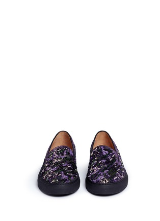 Front View - Click To Enlarge - Dries Van Noten - Beaded embroidery embossed velvet skate slip-ons