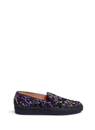 Main View - Click To Enlarge - Dries Van Noten - Beaded embroidery embossed velvet skate slip-ons