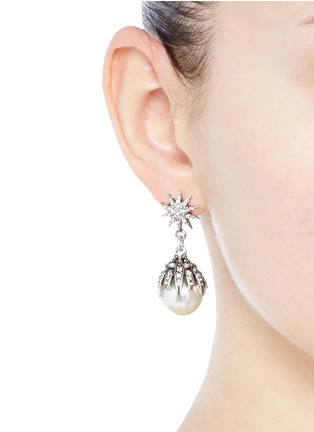 Figure View - Click To Enlarge - Lulu Frost - 'Electra' pavé glass pearl drop earrings
