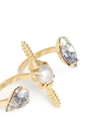 Detail View - Click To Enlarge - Joomi Lim - 'Screw U' Swarovski crystal pearl two finger ring