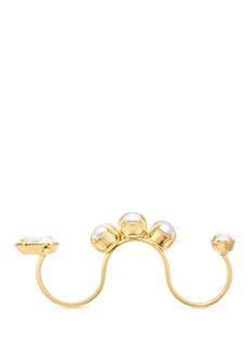 Joomi Lim'Screw U' Swarovski crystal pearl three finger ring