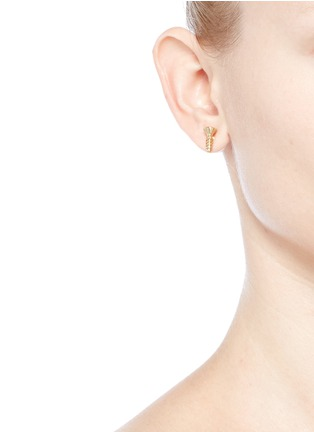 Joomi Lim-'Screw U' asymmetric Swarovski pearl stud earrings
