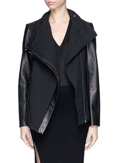 HELMUT LANG Crinkle lawn cloth leather jacket