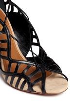 Lola' leather cutout trim suede pumps