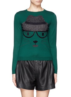 ALICE + OLIVIA Lurex and rhinestone cat sweater