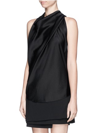 Front View - Click To Enlarge - Helmut Lang - Cowl neck cloqué sleeveless top