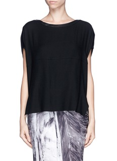 HELMUT LANG Leather trim wool blend top