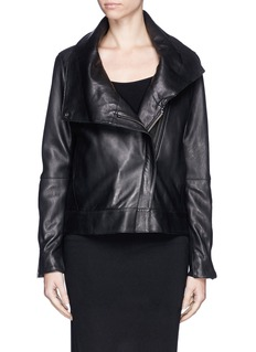 HELMUT LANG High collar leather biker jacket