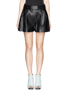 3.1 PHILLIP LIM Pleat leather flare shorts