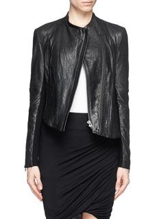 HELMUT LANGAsymmetric hem  crumpled lamb leather jacket