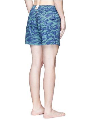Back View - Click To Enlarge - Māzŭ - 'Philippine Sea' wave print swim shorts