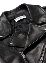 Detachable shearling collar leather biker jacket