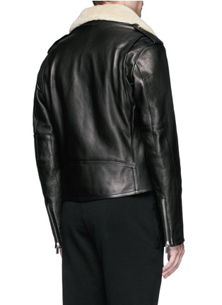 Back View - Click To Enlarge - Balenciaga - Detachable shearling collar leather biker jacket