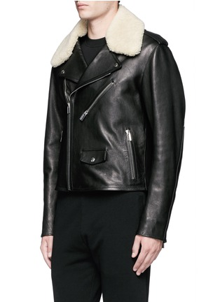 Front View - Click To Enlarge - Balenciaga - Detachable shearling collar leather biker jacket