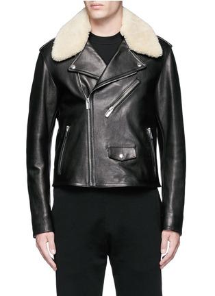 Balenciaga-Detachable shearling collar leather biker jacket