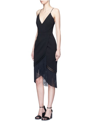 Nicholas - Macramé fringe crepe wrap dress