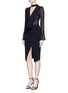 Nicholas Asymmetric wrap Milano knit skirt