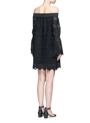 Back View - Click To Enlarge - Nicholas - Zigzag edge off-shoulder geometric lace dress