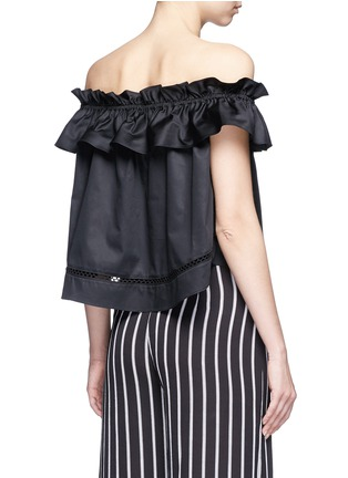 Back View - Click To Enlarge - Nicholas - 'Sofia' ruffle poplin off-shoulder top