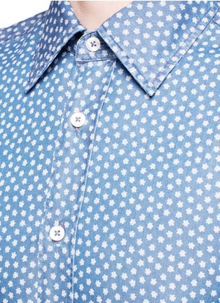 Detail View - Click To Enlarge - Canali - Floral print cotton chambray shirt