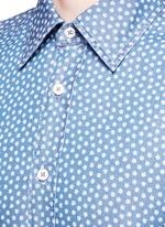 Floral print cotton chambray shirt
